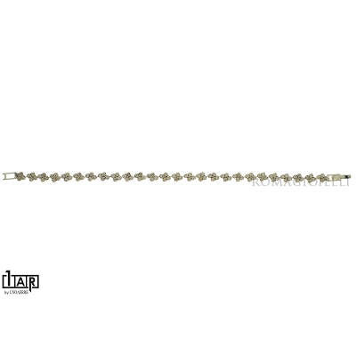 Bracciale tennis a rombi in ottone bianco Cm. 17 - Coll. Wedding Luxury