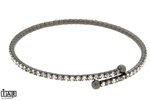 Bracciale tennis flessibile 1 filo in ottone ruteniato - Coll. Wedding Luxury
