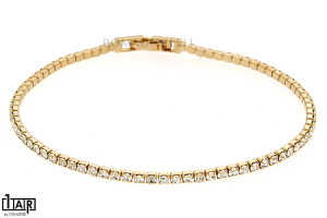 Bracciale tennis 1 filo in ottone giallo Cm. 18,0 - Coll. Wedding Luxury