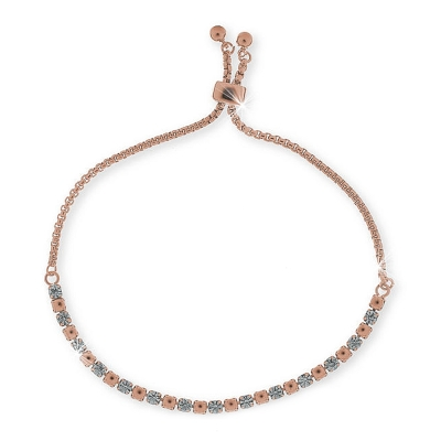 UNOAERRE - Bracciale in ottone rosa drawsting large crystal