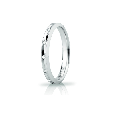 UNOAERRE Wedding Ring in 18k White Gold mod. Corona Slim with 8 Diamonds Kt. 0,08