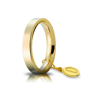UNOAERRE Wedding Ring in 18k Yellow Gold mod. Cerchio di Luce 3,5 mm.