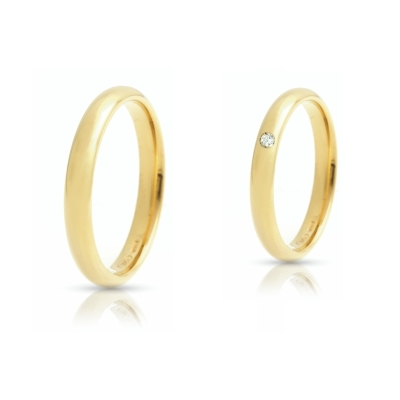 Yellow Gold Wedding Ring mod. Italiana mm. 3,3