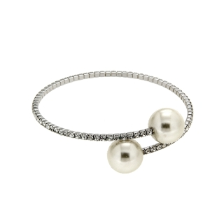 White Brass Bracelet with Pearls - Coll. Wedding Luxury