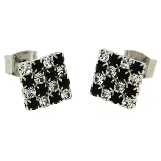White Brass White and Black Earrings -  Coll. Wedding Luxury