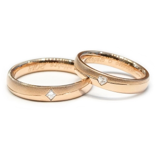 Satin/Polished Rose Gold Engagement  Ring mod. Nelly mm. 3,5