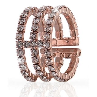 UNOAERRE - Rose Brass Ring with Cubic Zirconia