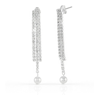 UNOAERRE - White Bronze Earrings with Pearls