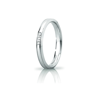 UNOAERRE Wedding Ring in 18k White Gold mod. Orion Slim with 3 Diamonds Kt. 0,03
