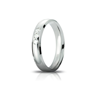 UNOAERRE Wedding Ring in 18k White Gold mod. Orion with 3 Diamonds Kt. 0,09