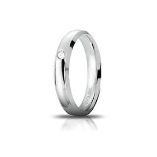 UNOAERRE Wedding Ring in 18k White Gold mod. Orion with Diamond Kt. 0,03