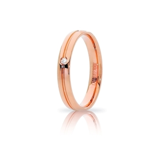 UNOAERRE Wedding Ring in 18k Rose Gold Mod. Lyra with diamond Kt. 0,02