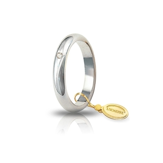 UNOAERRE Wedding Ring in 18k White Gold mod. Classic Gr. 5 with Diamond