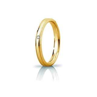 UNOAERRE Wedding Ring in 18k Yellow Gold mod. Orion Slim with Diamond