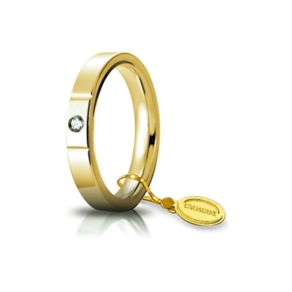 UNOAERRE Wedding Ring in 18k Yellow Gold mod. Cerchio di Luce 3,5 mm. with Diamond