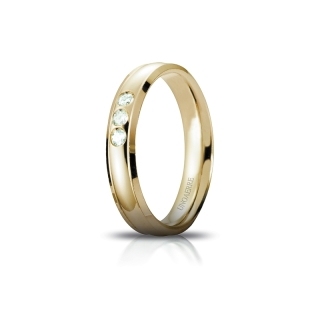UNOAERRE Wedding Ring in 18k Yellow Gold mod. Orion with 3 Diamonds