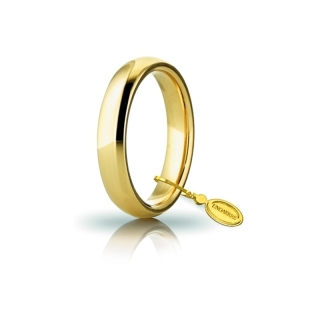 UNOAERRE Wedding Ring in 18k Yellow Gold mod. Comoda 4 mm.