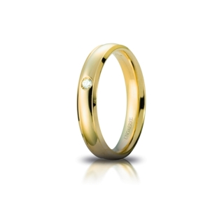 UNOAERRE Wedding Ring in 18k Yellow Gold mod. Orion with Diamond
