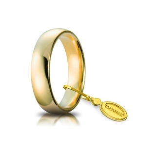 UNOAERRE Wedding Ring in 18k Yellow Gold mod. Comoda 5 mm.