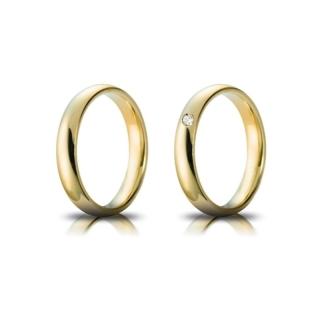 Yellow Gold Wedding Ring mod. Confort mm. 4