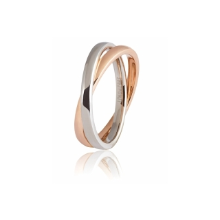 UNOAERRE 18Kt Two-Color Gold Wedding Ring Mod. Insieme - Coll. 9.0