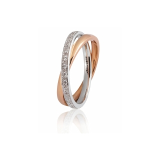 UNOAERRE 18Kt Two-Color Gold Wedding Ring Mod. Per Sempre with diamonds - Coll. 9.0