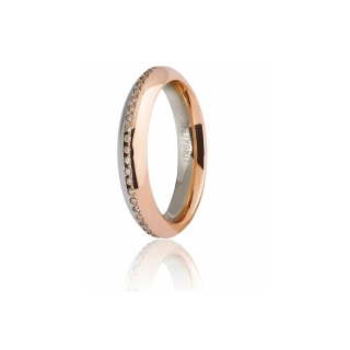 UNOAERRE 18Kt Two-Color Gold Wedding Ring Mod. Eterna with diamonds - Coll. 9.0