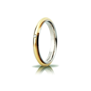 UNOAERRE 18Kt Two-Color Gold Wedding Ring Mod. Andromeda Slim with diamond Kt. 0,01
