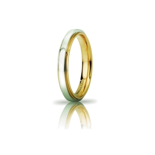 UNOAERRE 18Kt Two-Color Gold Wedding Ring Mod. Cassiopea Slim