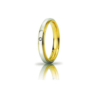 UNOAERRE 18Kt Two-Color Gold Wedding Ring Mod. Cassiopea Slim with diamond Kt. 0,01