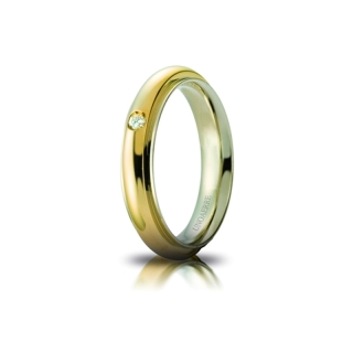 UNOAERRE 18Kt Two-Color Gold Wedding Ring Mod. Andromeda with diamond Kt. 0,03