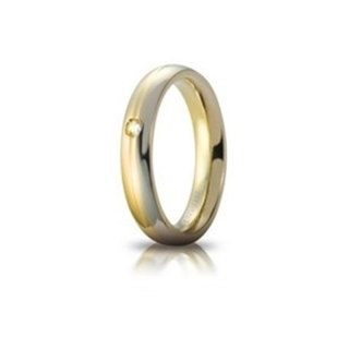 UNOAERRE 18Kt Two-Color Gold Wedding Ring Mod. Eclissi with with diamond Kt. 0.03