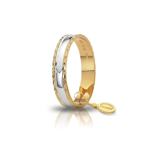 UNOAERRE 18Kt Two-Color Gold Wedding Ring Mod. Anemone