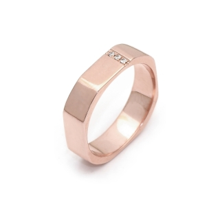 Rose Gold Engagement Ring Mod. Mykonos mm. 4,5 with Diamonds Kt. 0,02